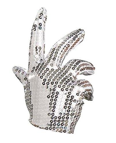 Michael Jackson Pailletten Handschuh silber Karneval Kostüm Handschuhe - Silber Kostüm Handschuhe