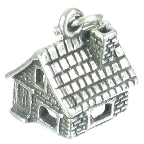 STEIN HAUS KABINE Sterlingsilber Charm .925 x 1 häuser-kabinen Charms sssc151 (Kabine Haus)