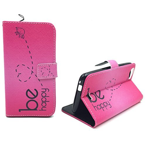 König-Shop Handy-Hülle Schutz-Tasche Wiko Rainbow Jam Smartphone Klapphülle Be Happy Design Pink