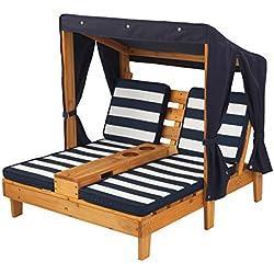 KidKraft 524 Chaise longue en bois avec porte-gobelets, meuble de jardin enfant - coloris miel et bleu marine