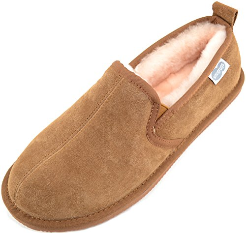 Chestnut Sheepskin Mens Brown Pantofole Rubber SNUGRUGS Uomo Slipper Sole With Genuine vqnFa