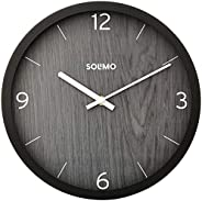 "Amazon Brand - Solimo 12"" Wall Clock - Paramount Dark Paneling (Silent Movement, Black F"