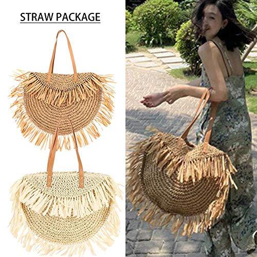 NOWAYTOSTART Damen Strandtasche Sommer Umhängetasche Hand Woven Bag handgefertigt in Retro Rattan Tasche Korbtaschen,Fit Für Reise Und Urlaub -