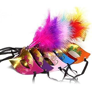 aoxintek Feder Halloween Party Masquerade Maske Karneval Party Fancy Kleid Ball Gesicht Augenmaske 6Stück
