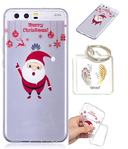 Preisvergleich Produktbild Huawei P10 TPU schutz silikonhülle, Weihnachtsgeschenke niedlichen cartoon bild transparent handy fall P10 + schlüsselanhänger (* / 63) (1)