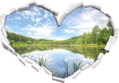 Forme de Coeur de rêve Waldsee Après-midi dans Le Regard 3D, Mur ou Une Porte Autocollant Format: 92x64.5cm, Stickers muraux, Stickers muraux, Wanddekoratio