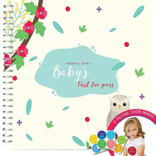 memory-book-stickers-unconditional-rosie-baby-girls-first-five-years-record-book-with-12-milestone-s