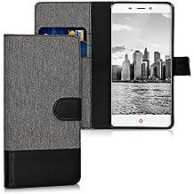 kwmobile Funda para ZTE Nubia N1 - Wallet Case plegable de cuero sintético - Cover con tapa tarjetero y soporte en gris negro