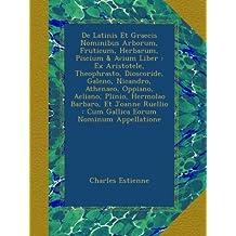 De Latinis Et Graecis Nominibus Arborum, Fruticum, Herbarum, Piscium & Avium Liber : Ex Aristotele, Theophrasto, Dioscoride, Galeno, Nicandro, ... : Cum Gallica Eorum Nominum Appellatione