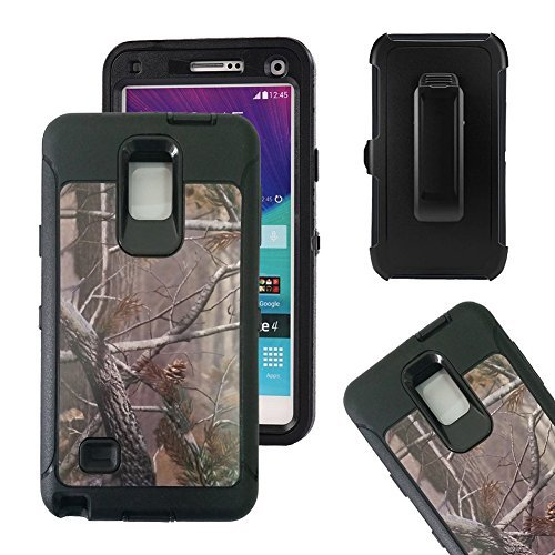 Galaxy Note 4 Fall, harsel Defender Series Heavy Duty Camo Tough Rugged Impact Armor Hybrid Military mit Gürtelclip Integrierter Displayschutzfolie Schutzhülle für Galaxy Note 4, Tree Black