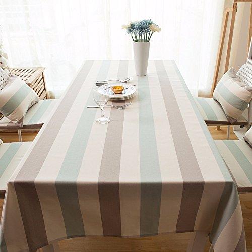 130x 200cm beige braun grün Streifen minimalistisch Japanische Instagram Tisch Tuch Baumwolle Leinen Esstisch Picknick, eckig quadratisch Umweltfreundlich, (Chinesischen Runden Esstisch)