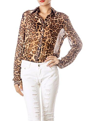 Ib-ip donna stampa di puro tulle leopardo pulsante maniche lunghe su giù camicia larga, taglia: s, brown