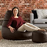 The Bean Bag Bean Bag Chair & Matching Footstool Combo - Indoor Outdoor High Back Bean Bags Cover XXXL Brown