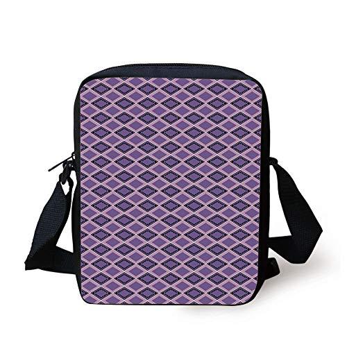 Geometric,Horizontal Chevron Lines with Rectangle Motifs Zigzag Motifs Image Decorative,Dark Purple Lavander Print Kids Crossbody Messenger Bag Purse