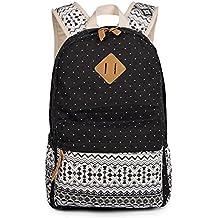 b6a1b1145cbd9 Evay Canvas Rucksack Vintage Bunte Streifen Polka Dot Schule Tasche für  Jugend Mädchen und Jungen Leichte