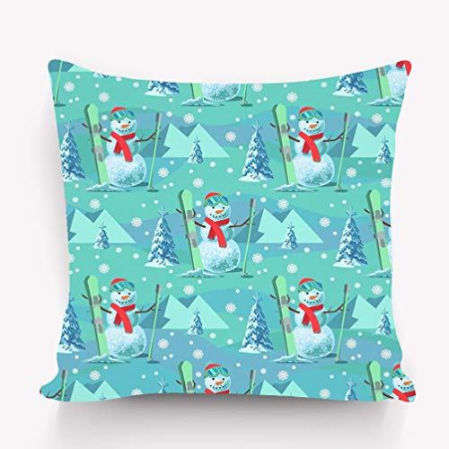 Kissenbezüge Throw Pillow Cushion Cover endless pattern christmas theme snowman ski outfit snow covered trees mountains Character Decorative Square Accent Pillow Case 18 X 18 inches