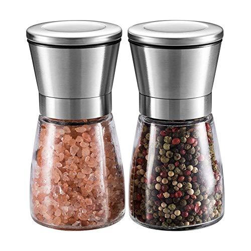 WINSHEA Conjunto de Molinillos para Sal y Pimienta - Molinillos Premium de Acero Inoxidable con Envase de Cristal y Grosor Ajustable, Salero y Pimentero de Acero Inoxidable pulido