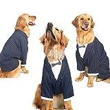OSPet Hund Formale Smoking Hochzeit Party Haustier Kleidung mit Fliege Business Anzug für Hunde, M Große Hunde Kostüme, 3XL(Neck 15.3