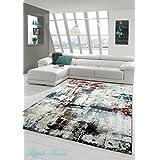 Sala de estar diseñador Alfombra Alfombra contemporánea bajo alfombra de pelo Heather Splash Diseño Turquesa Crema Multi Marrón Größe 200 x 290 cm