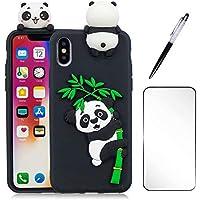 3D Cartoon Panda Case für iPhone 7 Plus/8 Plus Hülle JINCHANGWU TPU Silikon Handyhülle Cover Stoßdämpfung Schutz Tasche Schale Anti-Stoß Kratzfeste Schutzhülle Bumper, Schwarz
