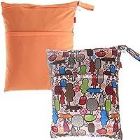 Damero 2pcs pacco Carino bambino di corsa Wet and Dry Cloth Diaper Organizzatore Tote Bag