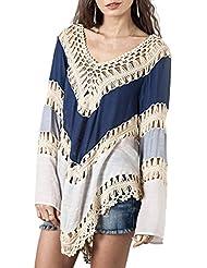 Minetom Mujer V-Cuello Hueco De Punto Tapas Irregular Dobladillo Blusa Mangas Largas Camisas