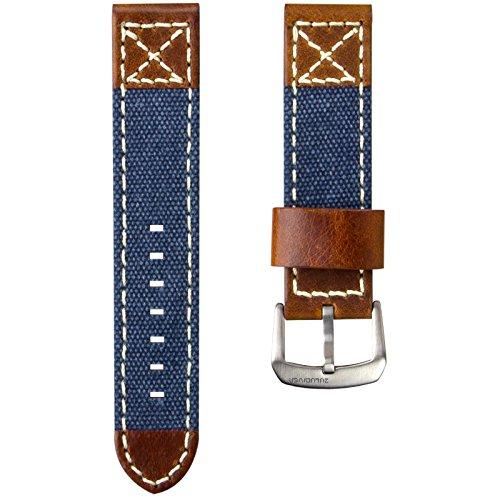 ZULUDIVER® Kanevas & Italienisches Leder Uhrenarmband, Blau & Vintage Braun 22mm