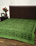 Elegant Double Bed Sheet Green Cotton Fl...