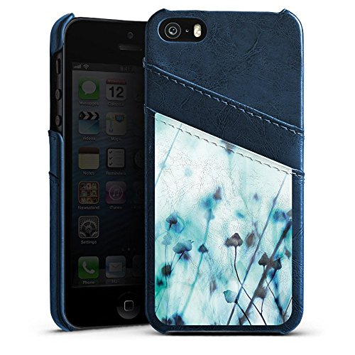 Apple iPhone 4 Housse Étui Silicone Coque Protection Nature Prairie Champ Étui en cuir bleu marine