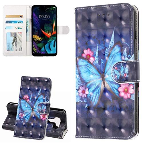TASoker Handyhülle für LG K50 Hülle Premium Leder 3D Flip Schutzhülle Tasche Bookstyle Brieftasche Schutzhülle Handytasche Magnetisch Kartenfach Ständer Etui Schmetterling