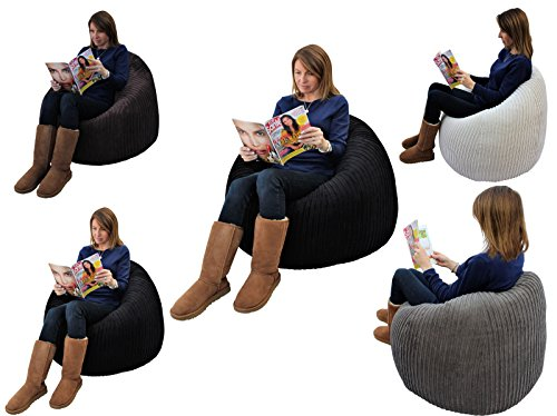 MaxiBean Beanbag Gamer Cord-Sessel für Gaming-Sitzsack, Jumbo-Cord, Game-TE Stahl