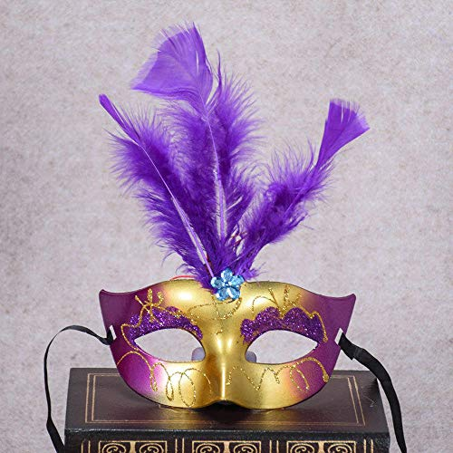Generic Halloween-Make-up-Masken, leuchtende Lichter, LED-Duft, Gold, Prinzessinnen-Feder, Party-Dekorative Maske, violett, 18 x 9cm