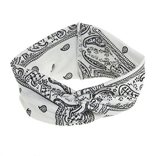 Trada Stirnbänder, Frauen Yoga Sport Elastic Floral Haarband Stirnband Turban verdreht verknotet Blume Gedruckt Baumwolle Gestrickte Verdrehte Weiche Turban Kopf Verpackungs (Weiß)