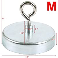 Pulling Force Rare Earth Magnet with Eyebolt Diameter 1.26 inch for Magnet Fishing Magnet Metal Detector Recovery Treasure Finder 6 packs 34 KG Powerful Neodymium Fishing Magnets,BOMKEE 75 lbs