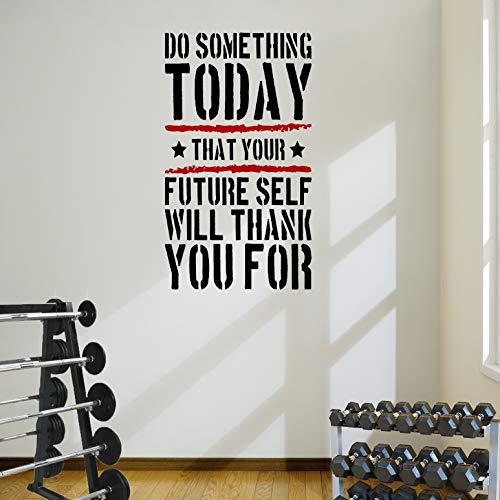 DesignDivil Do Something Today. Gym Gesundheit Wand Aufkleber Zitat 5Farbe Optionen, Black Text/red Stripes