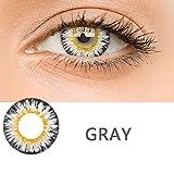 Edited Farbige Multicolor Cute Charm und Attraktive Kontaktlinsen 1 Stück Ohne Stärk – Jahreslinsen - Durchmesser: 14.50mm - Verschiedene Farben - Krümmungsradius: 8.60° - Wassergehalt: 38% - Angenehm zu Tragen (Gray)