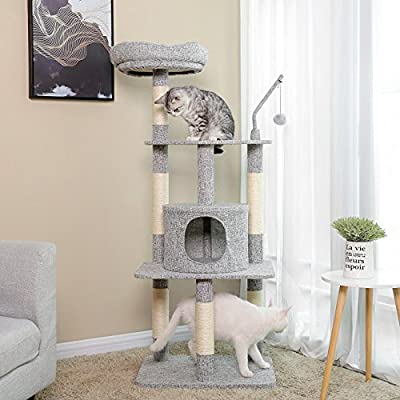 FEANDREA Multi-Level Cat Tree with Sisal-Covered Scratching Posts, Padded Condo and Top Perch, Playhouse Cat Tower Furniture, Linenette Surface, Light Grey PCT64W by FEANDREA