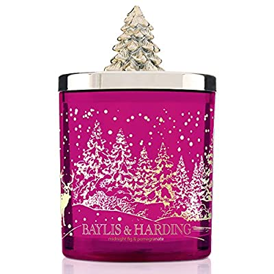 Baylis & Harding Festive Scented Candle Jar  with Christmas Tree Lid, Midnight Fig and Pomegranate from Baylis & Harding