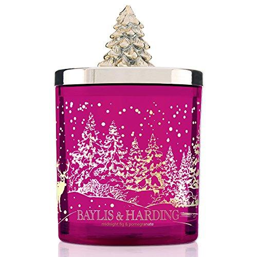 Baylis & harding midnight fig & pomegranate festive candela profumata in barattolo con coperchio dell' albero di natale