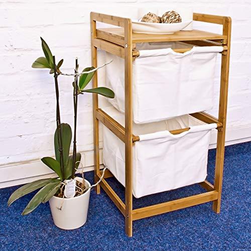 Relaxdays Wäschesammler mit 2 Fächern LINEA, Bambus, 37x33x73 cm - 2