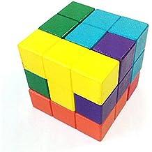 Zhomgo@ Kongming Luban bloqueo rompecabezas de madera #2 juguetes de los niños juguetes educativos juguetes de madera de regalo Hot Toys capacidad 3D Juegos de Rubik Cubo puzzle de ejercicio de los niños a desafiar a su regalo perfecto para los niños el pensamiento lógico(Color Cube)