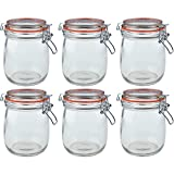 Argon Tableware Preserving/Biscuit Glass Storage Jars - 750ml - Pack of 6