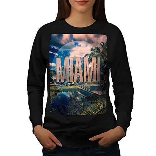 Miami Plage Ville Mode Femme S-2XL Sweat-shirt   Wellcoda Noir