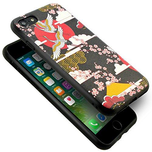 iPhone 6 6S Hülle, Fraelc® Flexibel Weich TPU Silikon Schutzhülle Gemalt Schutz Handyhülle Bumper Case für Apple iPhone 6 / 6S 4.7 Zoll Mandschurenkranich Kirschblüte#2 Design Handytasche #1