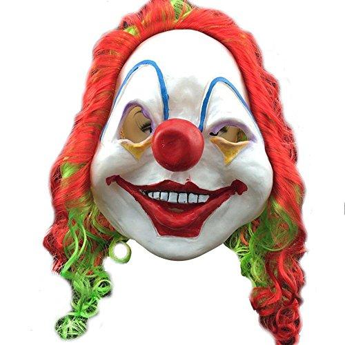 Cool Maske mit Creepy Clown Perücke Colorful ungiftig Latex Funny Requisiten für Halloween, Ostern Kostüm Cosplay Partys (Smiley Latex Maske)