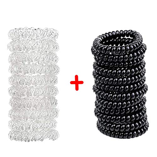 20 Stück Spiral Haargummis Power True Black Große Telefonkabel Haargummi Haargummis ohne Metall...