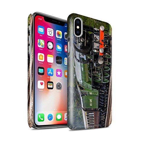 STUFF4 Glanz Snap-On Hülle / Case für Apple iPhone X/10 / Dominion NZ/Blau Muster / Dampflokomotive Kollektion Tornado/Grün