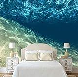 Papel tapiz fotográfico Estéreo 3D Muro submarino claro de agua de mar Telón de fondo de pared Restaurante Cafe Wallpaper Mural personalizado, 300 × 210Cm