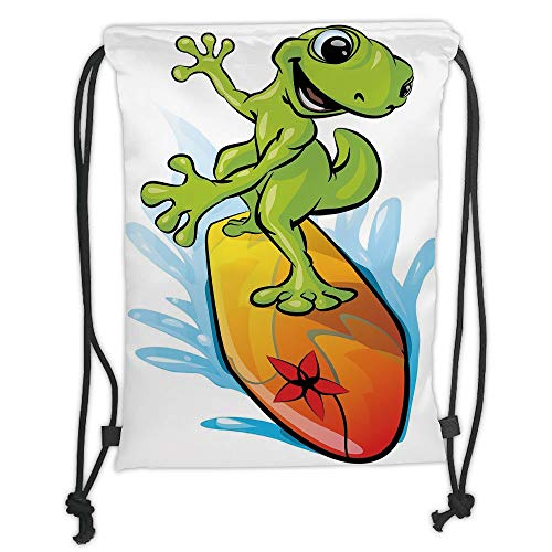 packs Bags,Ride The Wave,A Gecko Surfing with The Water Cute Animal Humor Cartoon,Orange Lime Green Sky Blue Soft Satin,5 Liter Capacity,Adjustable String Closure,Th ()