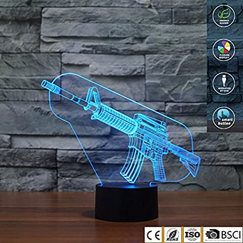 3D Illusion Lamp Jawell Gun Effect LED Light with 7 Colors Switch by Smart Touch Button Creative Gift Home Office Decorations